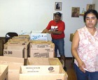 Food Boxes Being Sorted by Participant Volunteers for Distribution